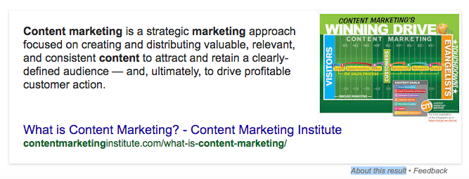 Content Marketing Institute's Featured Snippet