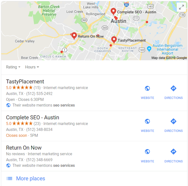 Why Local SEO? Example of Austin SEO Services Local Pack