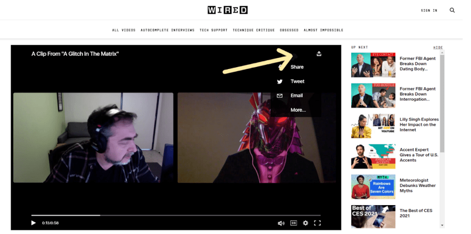 tips to Promote Video Content: Wired Magazine Example